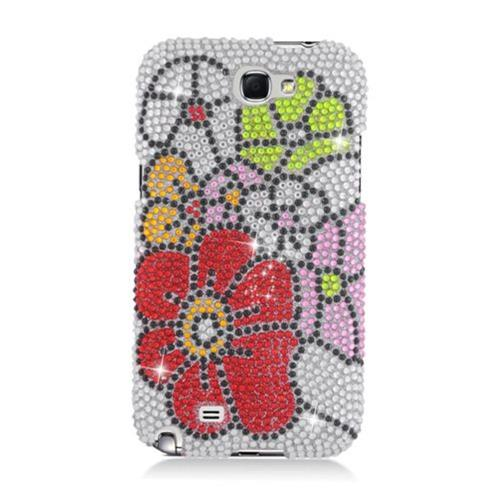 Insten Flowers Hard Diamante Case For Samsung Galaxy Note II, Pink/Red