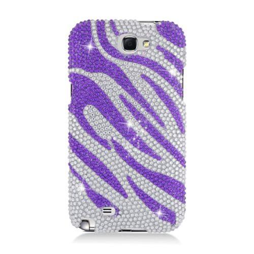 Insten Zebra Hard Bling Case For Samsung Galaxy Note II, Purple/Silver