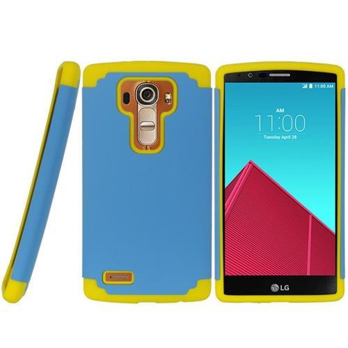Insten Hard Hybrid TPU Cover Case For LG G4, Blue/Yellow