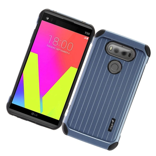 Insten Hard Dual Layer Rubber Silicone Cover Case For LG V20, Blue/Black