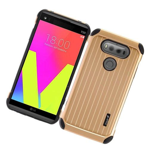 Insten Hard Hybrid Rubber Coated Silicone Cover Case For LG V20, Gold/Black
