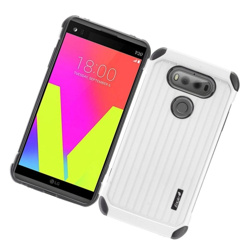 Insten Hard Hybrid Rubberized Silicone Cover Case For LG V20, Silver/Black