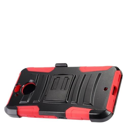Insten Hard Hybrid Plastic Silicone Cover Case w/Holster For HTC 10 EVO / Bolt, Black/Red