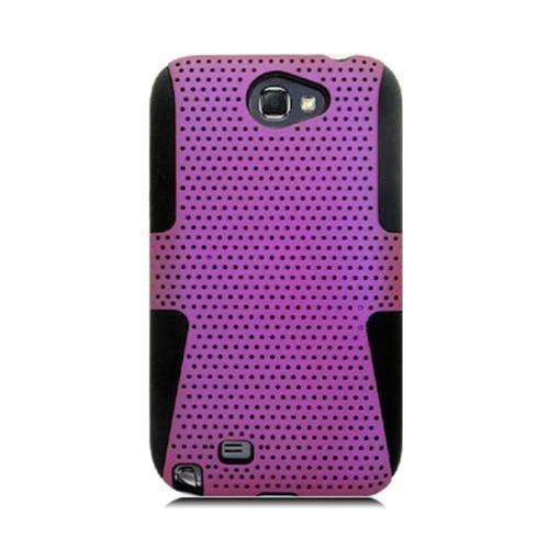 Insten Mesh Hard Dual Layer TPU Cover Case For Samsung Galaxy Note II, Purple/Black