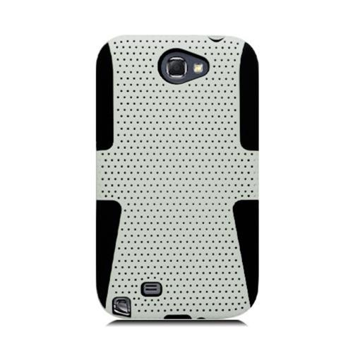 Insten Mesh Hard Dual Layer TPU Case For Samsung Galaxy Note II, White/Black