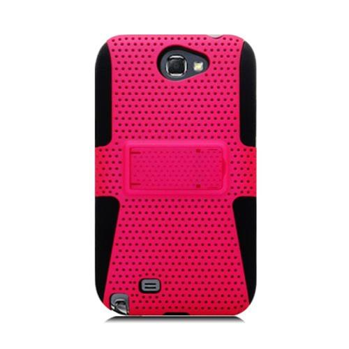 Insten Mesh Hard Dual Layer TPU Cover Case For Samsung Galaxy Note II, Hot Pink/Black