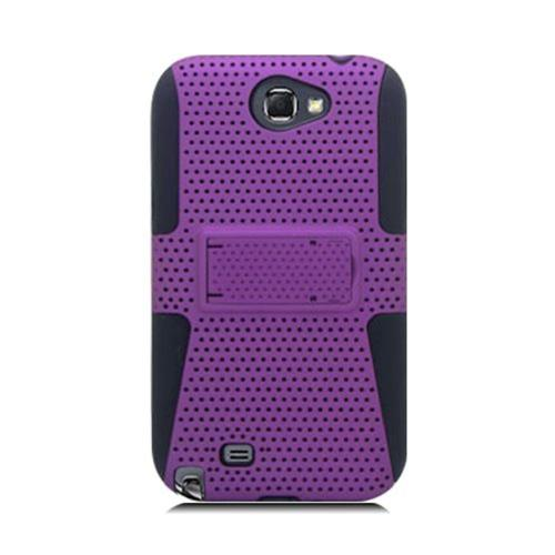Insten Mesh Hard Dual Layer TPU Case For Samsung Galaxy Note II, Purple/Black