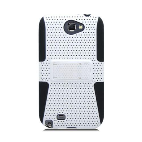 Insten Mesh Hard Hybrid TPU Cover Case For Samsung Galaxy Note II, White/Black