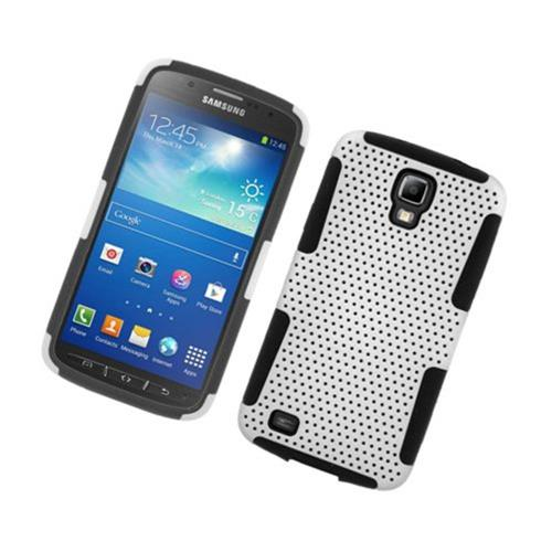 Insten Mesh Hard Dual Layer TPU Case For Samsung Galaxy S4 Active, White/Black