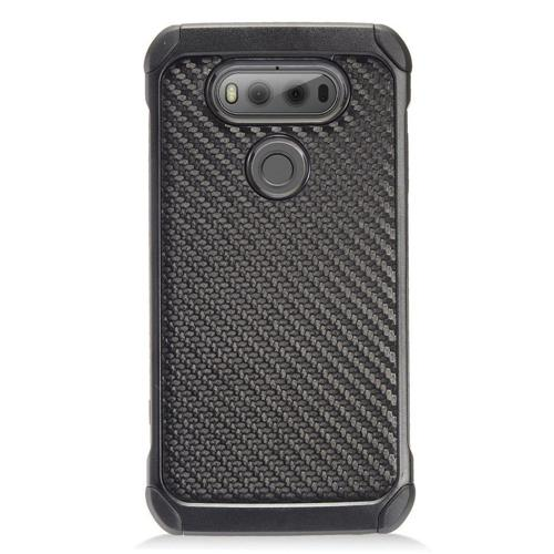 Insten Carbon Fiber Hard Dual Layer TPU Cover Case For LG V20, Black