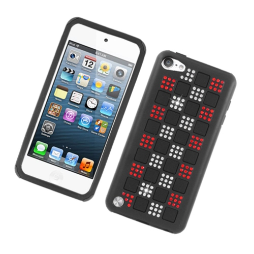 Insten Checker Gel Dual Layer Rubber Hard Case w/Diamond For Apple iPod Touch 5th Gen, Black/Red