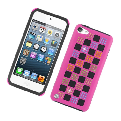 Insten Checker Rubber Dual Layer Hard Case w/Diamond For Apple iPod Touch 5th Gen, Hot Pink/Black