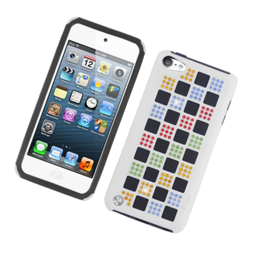 Insten Checker Gel Hybrid Rubber Hard Case w/Diamond For Apple iPod Touch 5th Gen, White/Colorful