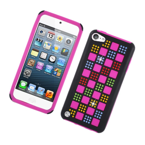 Insten Checker SiliconeRubber Hard Case w/Diamond For Apple iPod Touch 5th Gen, Hot Pink/Colorful