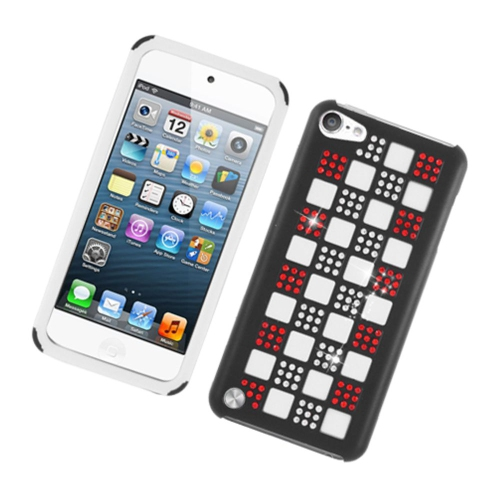 Insten Checker Soft Dual Layer Rubber Hard Case w/Diamond For Apple iPod Touch 5th Gen, Black/Red