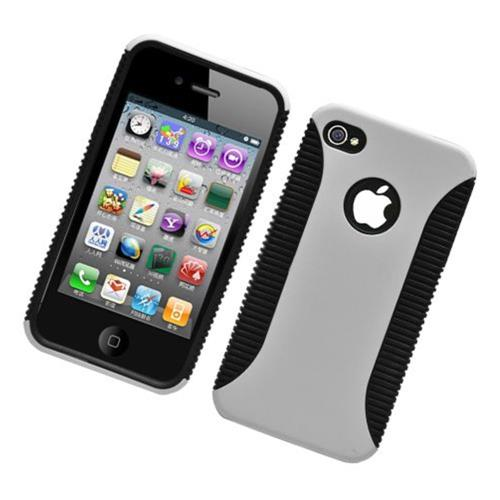 Insten Hard Dual Layer Plastic TPU Cover Case For Apple iPhone 4/4S, Gray/Black