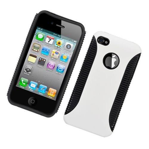 Insten Hard Hybrid Plastic TPU Case For Apple iPhone 4/4S, White/Black