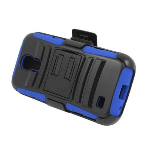 Insten Armor Hard Hybrid Silicone Case w/stand/Holster For Samsung Galaxy S4 Mini, Black/Blue