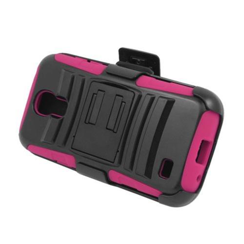 Insten Armor HardPlastic Silicone Case w/stand/Holster For Samsung Galaxy S4 Mini, Black/Hot Pink