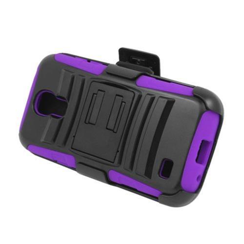 Insten Armor HardPlastic Silicone Case w/stand/Holster For Samsung Galaxy S4 Mini, Black/Purple