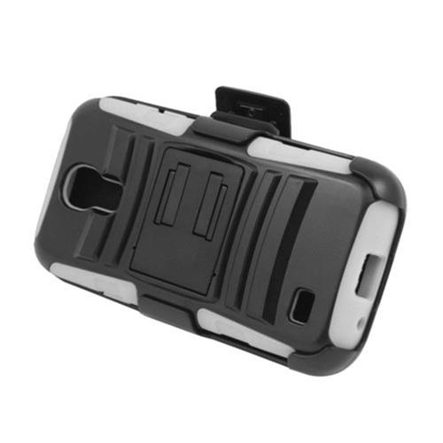 Insten Armor HardPlastic Silicone Case w/stand/Holster For Samsung Galaxy S4 Mini, Black/White