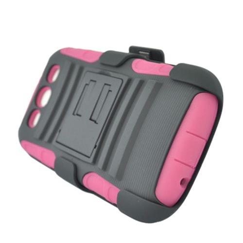 Insten Armor Hard Hybrid Silicone Case w/stand/Holster For Samsung Galaxy S3, Hot Pink/Black