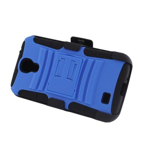Insten Armor HardPlastic Silicone Case w/stand/Holster For Samsung Galaxy S4, Blue/Black