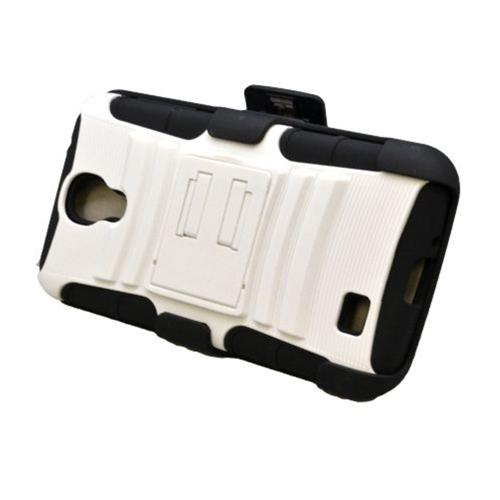 Insten Armor HardPlastic Silicone Case w/stand/Holster For Samsung Galaxy S4, White/Black