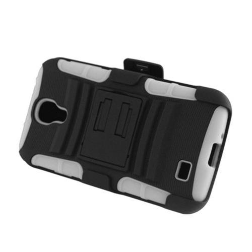 Insten Armor HardPlastic Silicone Case w/stand/Holster For Samsung Galaxy S4, Black/White