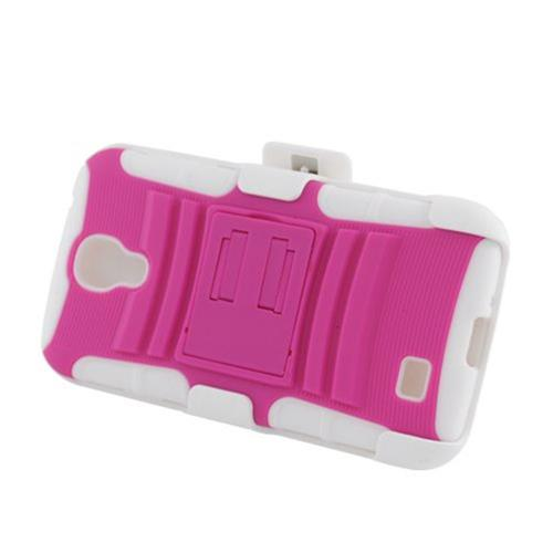 Insten Armor Hard Hybrid Silicone Case w/stand/Holster For Samsung Galaxy S4, Hot Pink/White