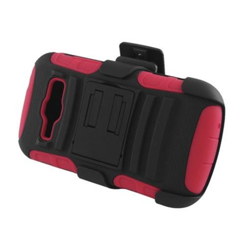 Insten Advanced Armor Hard Hybrid Plastic Case w/stand For Samsung Galaxy Prevail 2/Ring, Black/Red