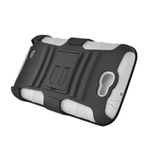 Insten Armor Hard Hybrid Silicone Case w/stand/Holster For Samsung Galaxy Note II, Black/White