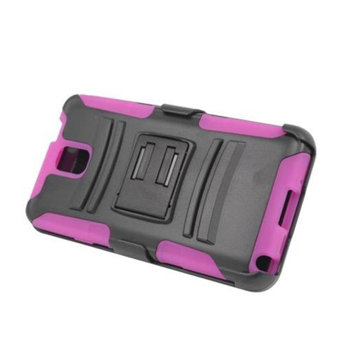 Insten Armor Hard Hybrid Silicone Case w/stand/Holster For Samsung Galaxy Note 3, Black/Hot Pink
