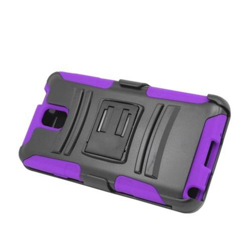 Insten Armor Hard Hybrid Silicone Case w/stand/Holster For Samsung Galaxy Note 3, Black/Purple