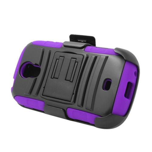 Insten Armor Hard Hybrid Silicone Case w/stand/Holster For Samsung Galaxy Light, Black/Purple