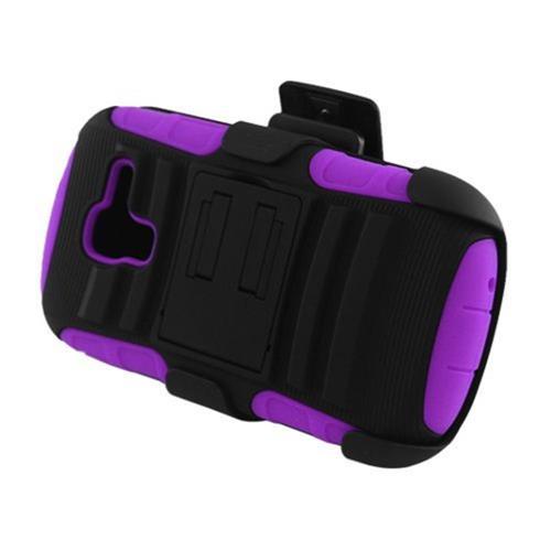 Insten Armor Hard Dual Layer Plastic Case w/stand For Samsung Galaxy Exhibit T599, Black/Purple