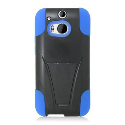 Insten Hard Hybrid Plastic Silicone Case w/stand For HTC One M8, Black/Blue