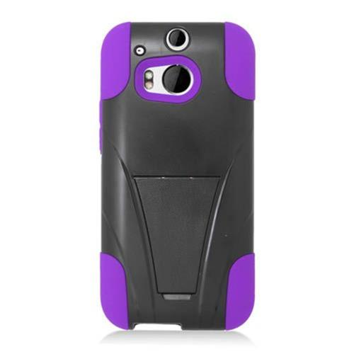 Insten Hard Dual Layer Plastic Silicone Cover Case w/stand For HTC One M8, Black/Purple