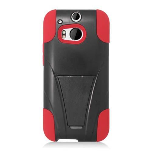 Insten Hard Dual Layer Plastic Silicone Cover Case w/stand For HTC One M8, Black/Red