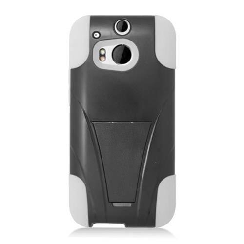 Insten Hard Hybrid Plastic Silicone Case w/stand For HTC One M8, Black/White