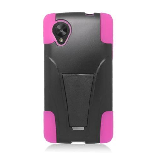 Insten Hard Dual Layer Plastic Silicone Case w/stand For LG Google Nexus 5 D820, Black/Hot Pink