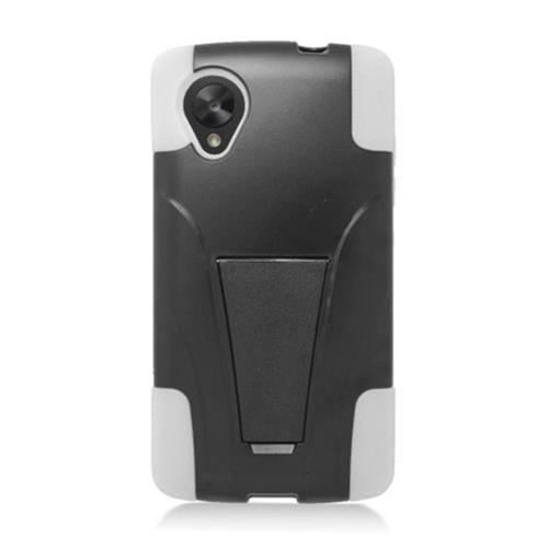 Insten Hard Dual Layer Plastic Silicone Case w/stand For LG Google Nexus 5 D820, Black/White