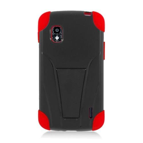 Insten Hard Hybrid Plastic Silicone Cover Case w/stand For LG Google Nexus 4 E960, Black/Red