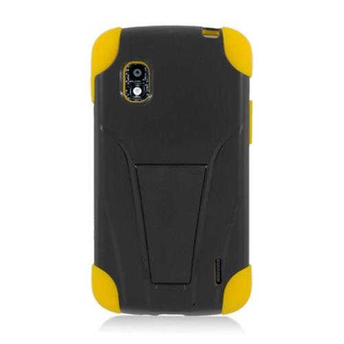 Insten Hard Dual Layer Plastic Silicone Case w/stand For LG Google Nexus 4 E960, Black/Yellow