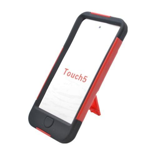 Insten Hard Hybrid Plastic Silicone Case w/stand For Apple iPod Touch 5th Gen, Red/Black