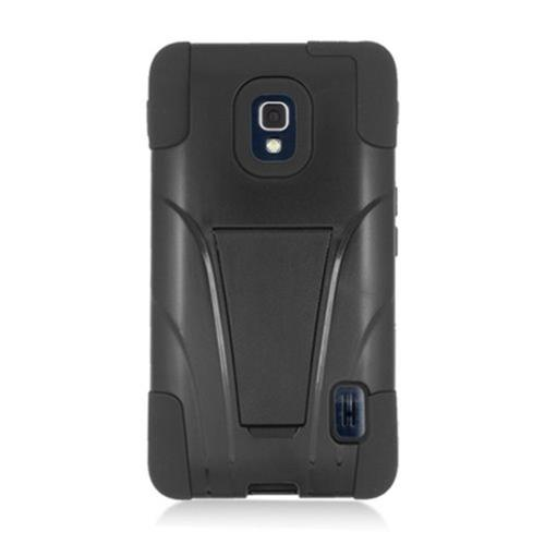 Insten Hard Hybrid Plastic Silicone Case w/stand For LG Optimus F6 MS500, Black