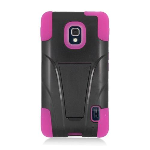 Insten Hard Hybrid Plastic Silicone Cover Case w/stand For LG Optimus F6 MS500, Black/Hot Pink