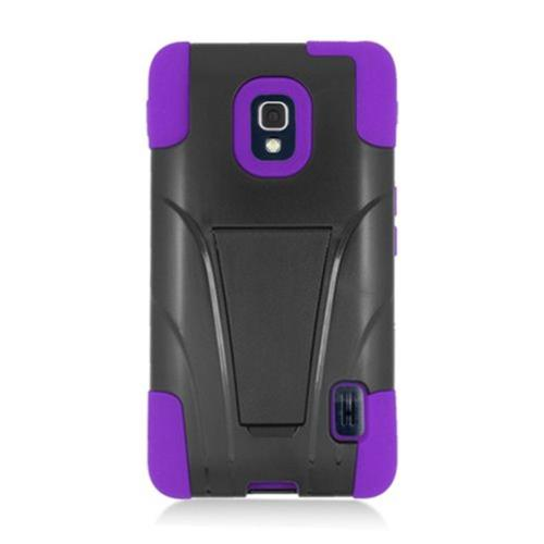 Insten Hard Dual Layer Plastic Silicone Case w/stand For LG Optimus F6 MS500, Black/Purple