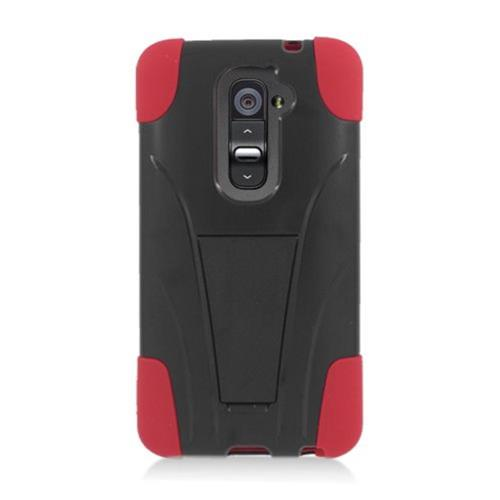 Insten Hard Hybrid Plastic Silicone Case w/stand For LG G2 D801 T-Mobile/G2 LS980 Sprint, Black/Red