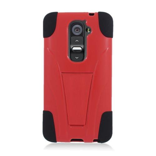 Insten HardPlastic Silicone Case w/stand For LG G2 D801 T-Mobile/G2 LS980 Sprint, Red/Black